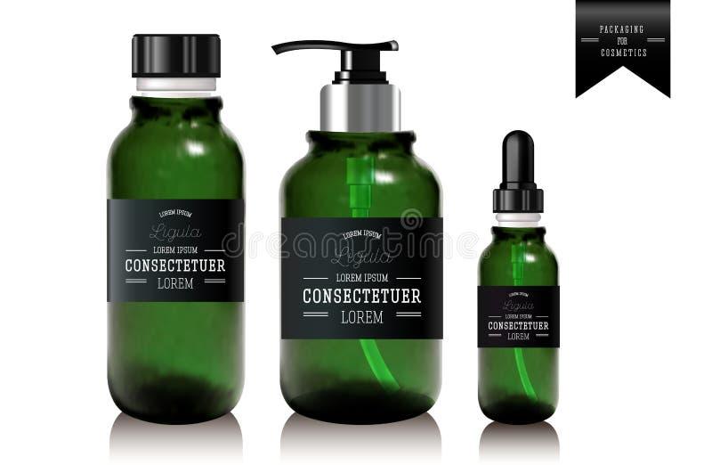 Botella y tubo de aceite esencial realista para la crema libre illustration