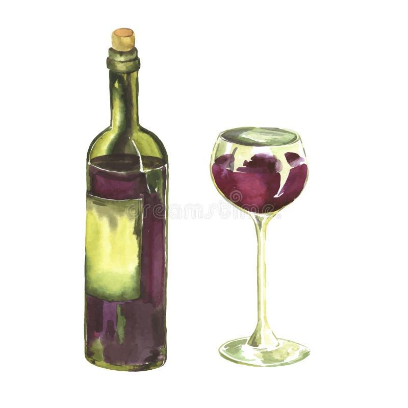 Botella y un vidrio de vino rojo Ejemplo dibujado mano de la acuarela ilustración del vector