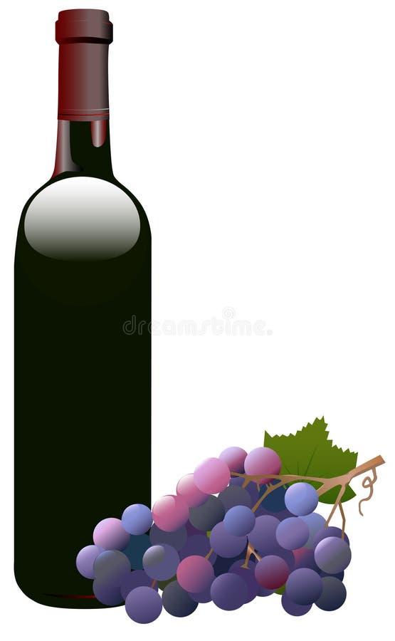 Botella y uvas de vino rojo ilustración del vector