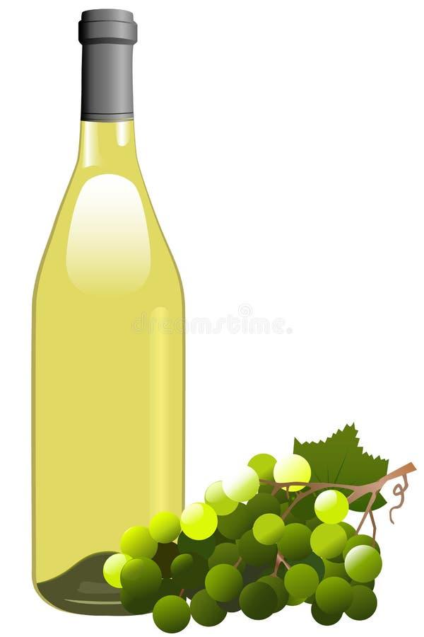 Botella y uvas del vino blanco stock de ilustración