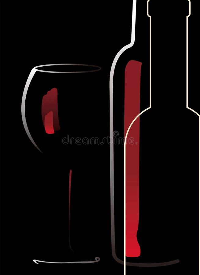 Botella y vidrio con el vino rojo ilustración del vector