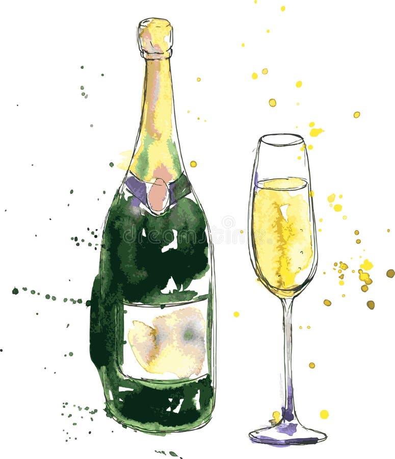 Botella y vidrio de Champán ilustración del vector