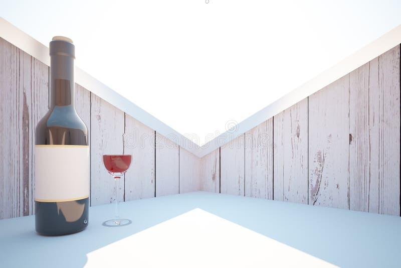 Botella y vidrio de vino libre illustration