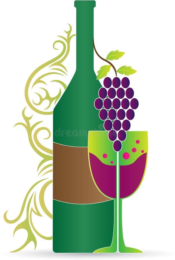Botella y vidrio de vino ilustración del vector