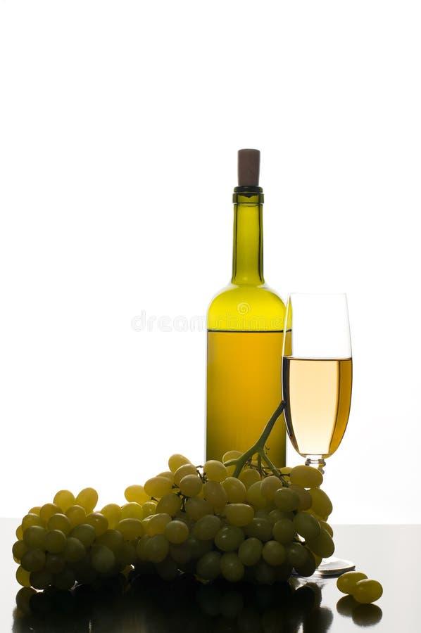 Botella y vidrio de vino blanco con las uvas imagen de archivo libre de regalías