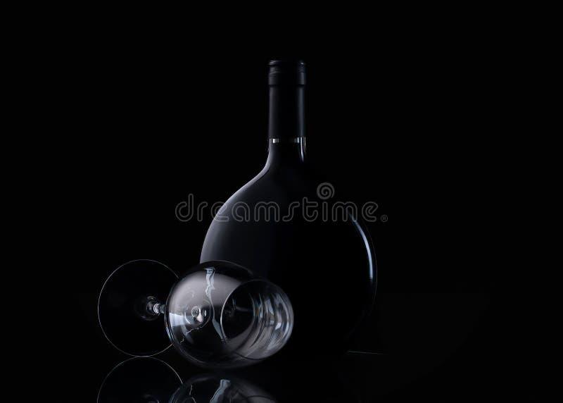 Botella y vidrio de vino en fondo negro imágenes de archivo libres de regalías