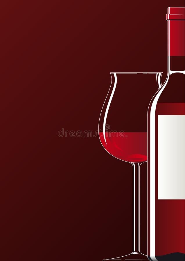 Botella y vidrio de vino rojo stock de ilustración