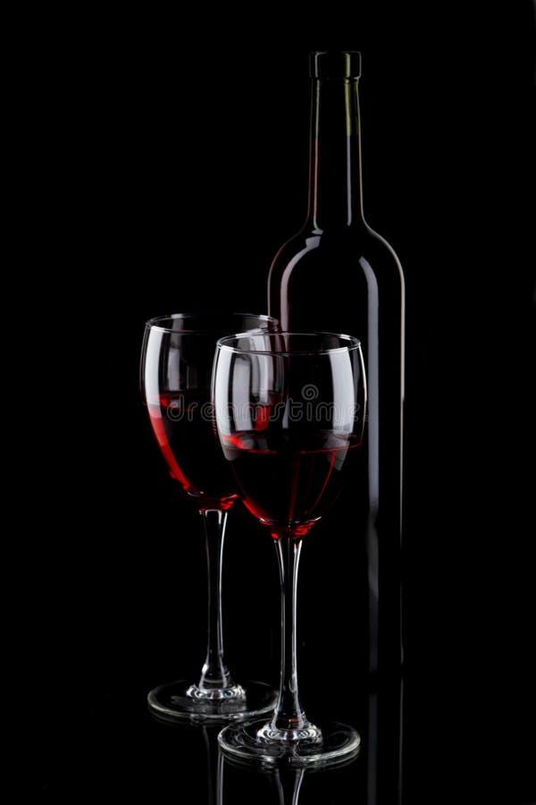 Botella Y Vidrio De Vino Rojo Fotos de archivo libres de regalías