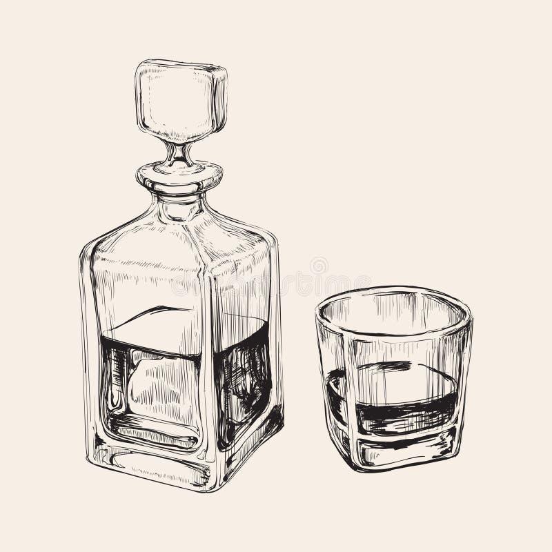 Botella y vidrio de whisky Ejemplo dibujado mano del vector de la bebida ilustración del vector