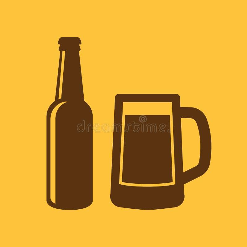 Botella y vidrio del icono de la cerveza Cerveza y pub, símbolo de la barra Ui web LOGOTIPO muestra Diseño plano app existencias ilustración del vector