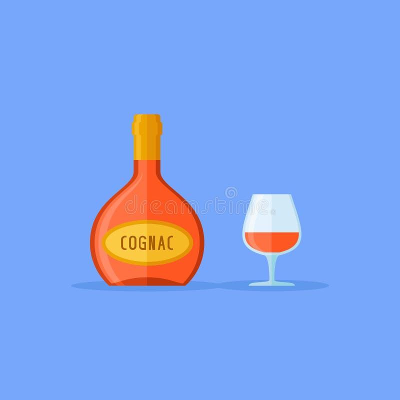 Botella y vidrio del icono plano del estilo del coñac Ilustración del vector ilustración del vector