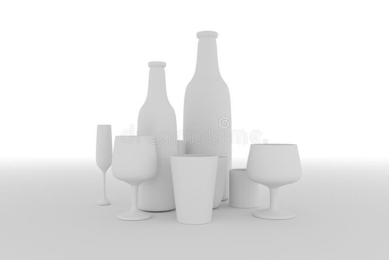 Botella y vidrio inm?viles de la vida de Concepture Para el dise?o gr?fico o el fondo, composici?n del cgi Gris o b&w blanco y ne stock de ilustración