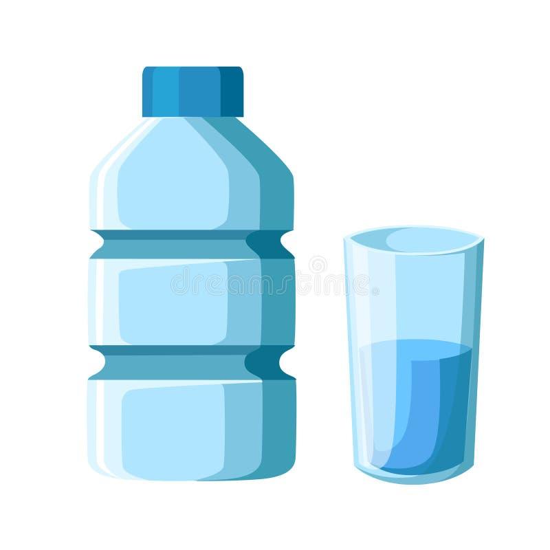 Botella y vidrio plásticos de agua Ejemplo plano del vector Aislado en el fondo blanco stock de ilustración