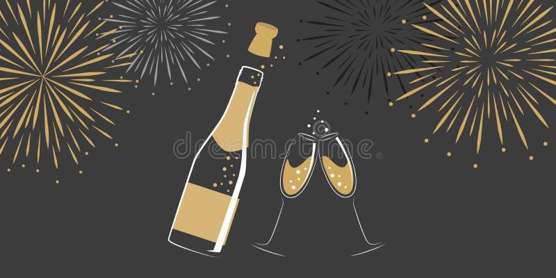 Botella y vidrios de Champán con los fuegos artificiales del Año Nuevo ilustración del vector
