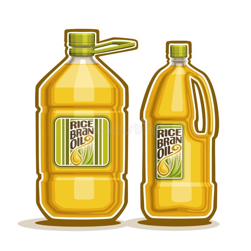 Botellas con aceite del salvado de arroz stock de ilustración