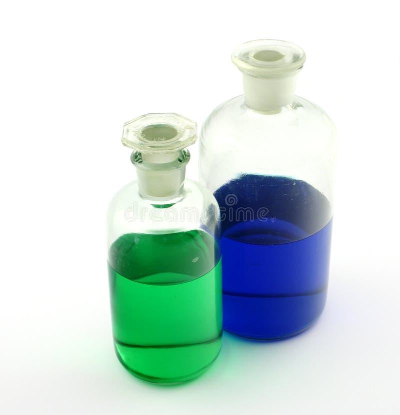 Botellas con los venenos imagen de archivo