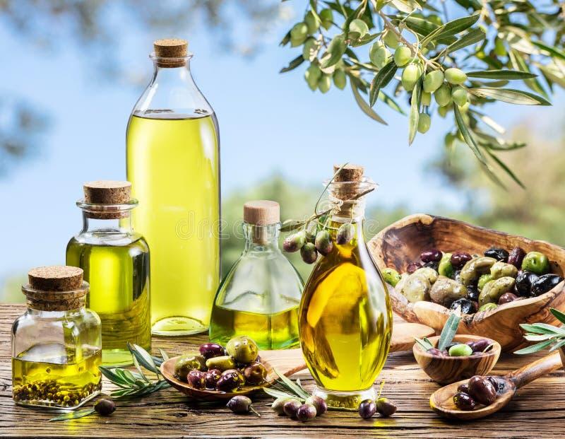 Botellas de aceite de oliva en la tabla de madera vieja debajo del olivo fotografía de archivo libre de regalías