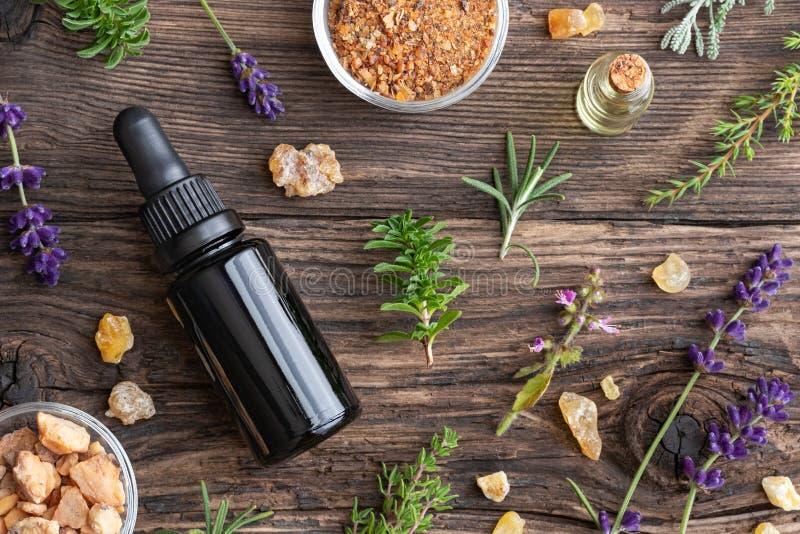 Botellas de aceite esencial con el incienso, tulsi, savo de la montaña imagen de archivo libre de regalías