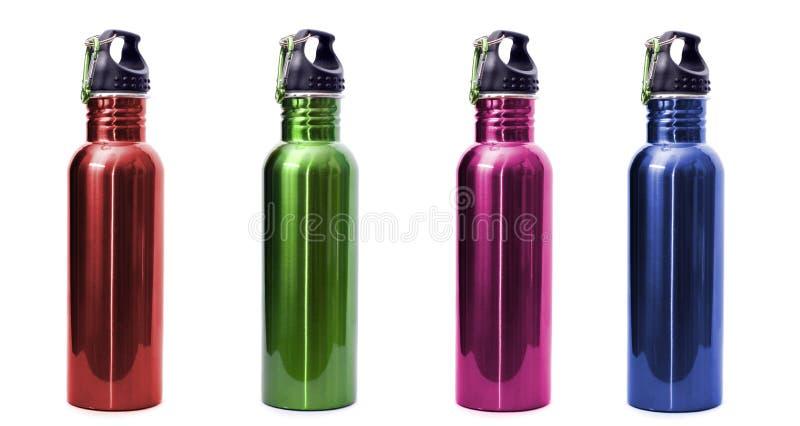 Botellas de agua reutilizables del acero inoxidable imagen de archivo