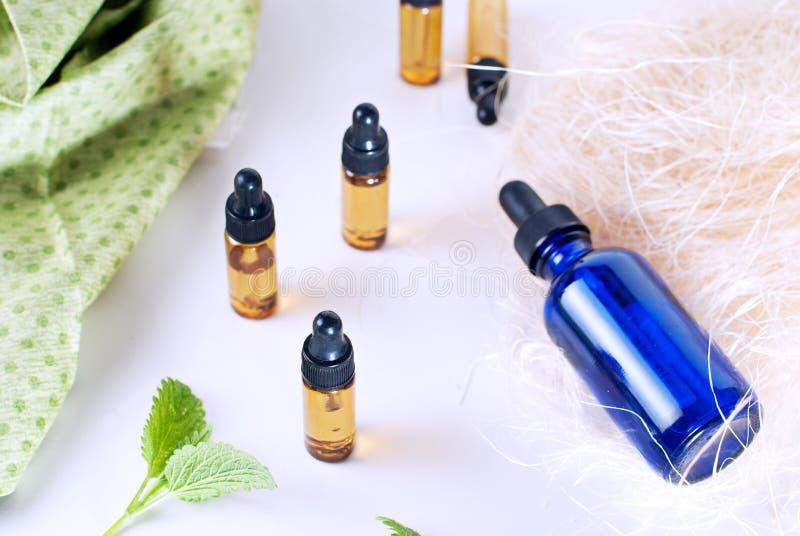 Botellas de Brown de aceite esencial con la menta fresca en el backgrou blanco imágenes de archivo libres de regalías