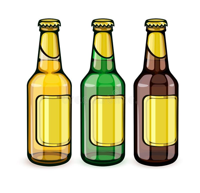 Botellas de cerveza con las etiquetas vacías stock de ilustración
