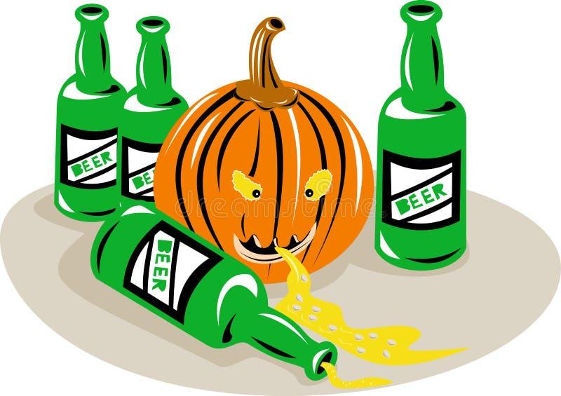 Botellas de cerveza de la calabaza de Víspera de Todos los Santos ilustración del vector