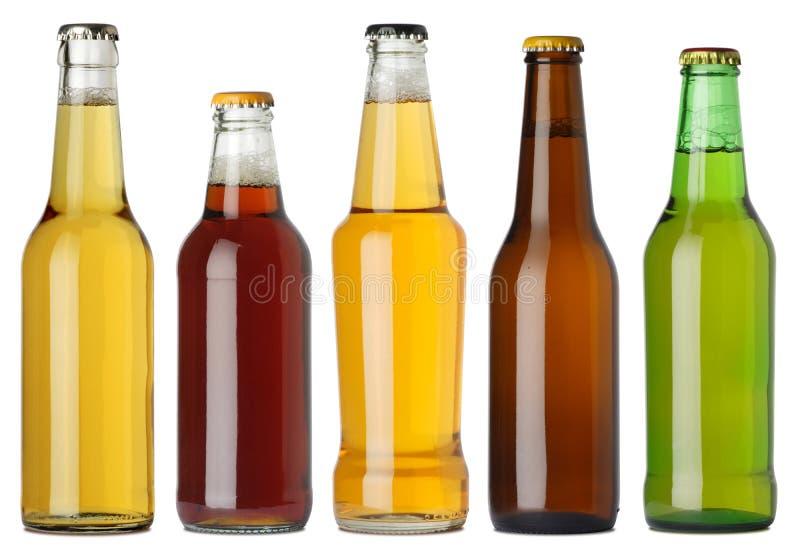 Botellas de cerveza en blanco fotografía de archivo libre de regalías