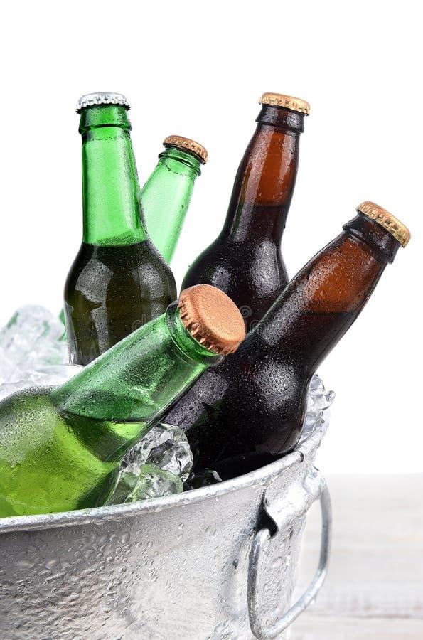 Botellas de cerveza en el primer de Buclet del hielo foto de archivo libre de regalías