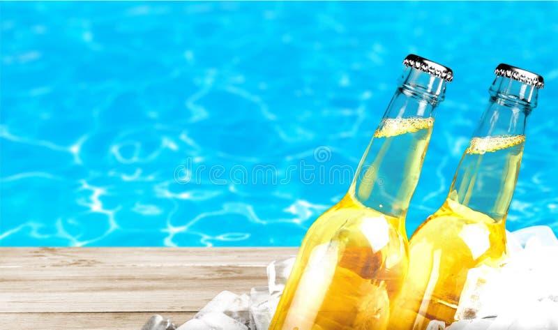 Botellas de cerveza en hielo en fondo de la piscina fotografía de archivo