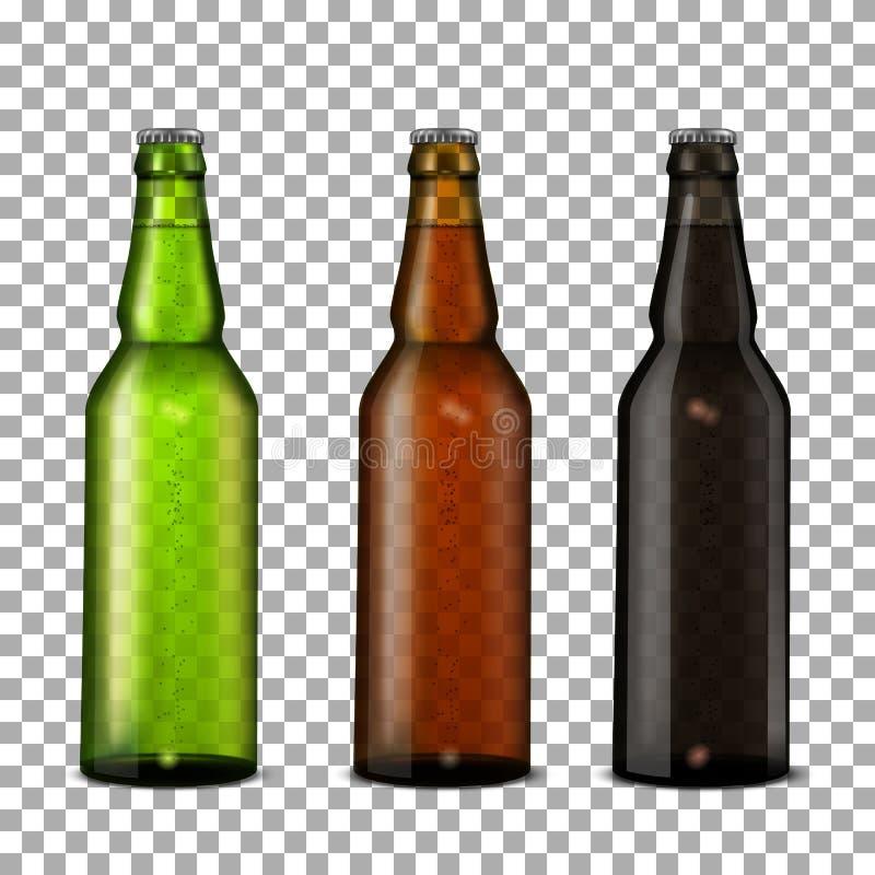 Botellas de cerveza fijadas stock de ilustración