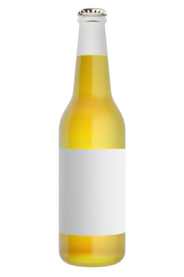 Botellas de cerveza llenas con la etiqueta en blanco stock de ilustración