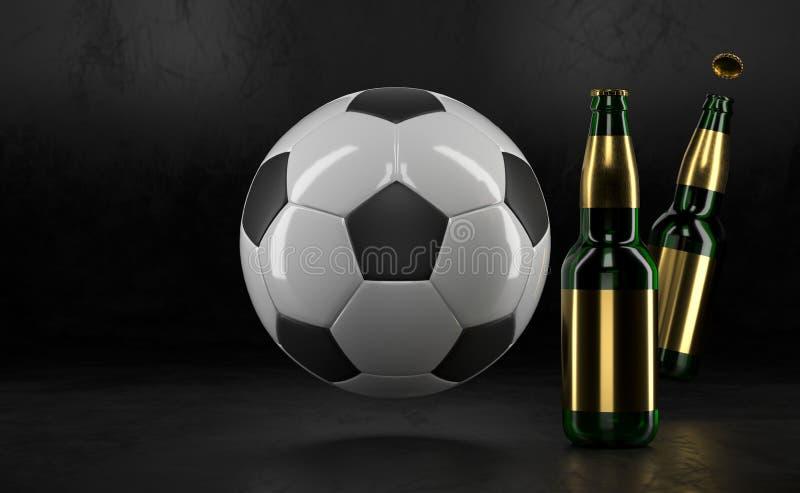 Botellas de cerveza y balón de fútbol en la tabla negra Cerveza falsa para arriba Botellas de cerveza con la maqueta de la bola d stock de ilustración