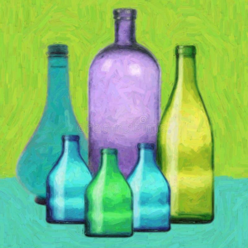 Botellas de cristal stock de ilustración