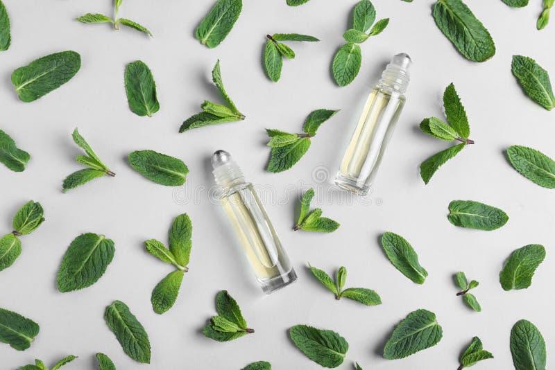 Botellas de cristal con aceite esencial entre las hojas de menta en fondo ligero fotos de archivo libres de regalías