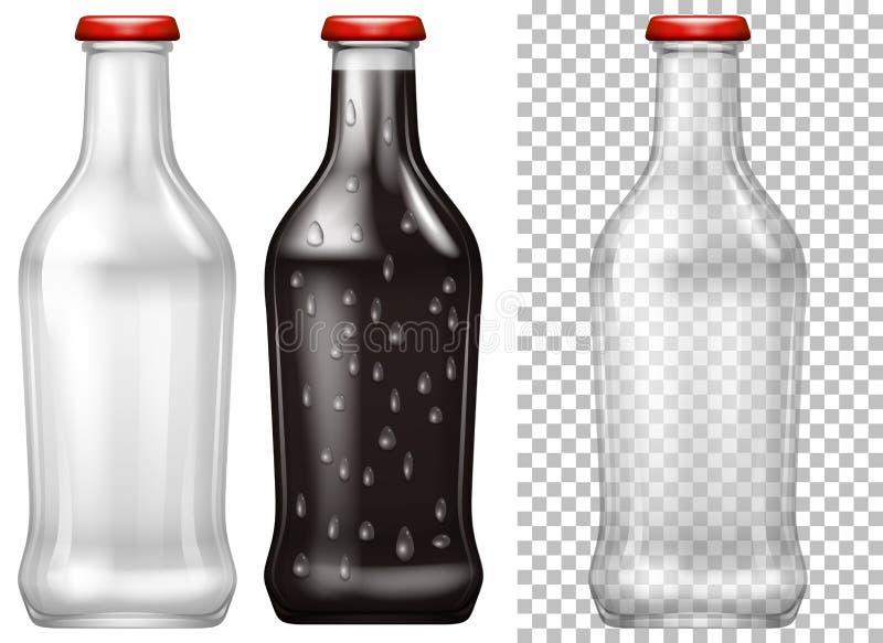 Botellas de cristal con y sin bebida stock de ilustración