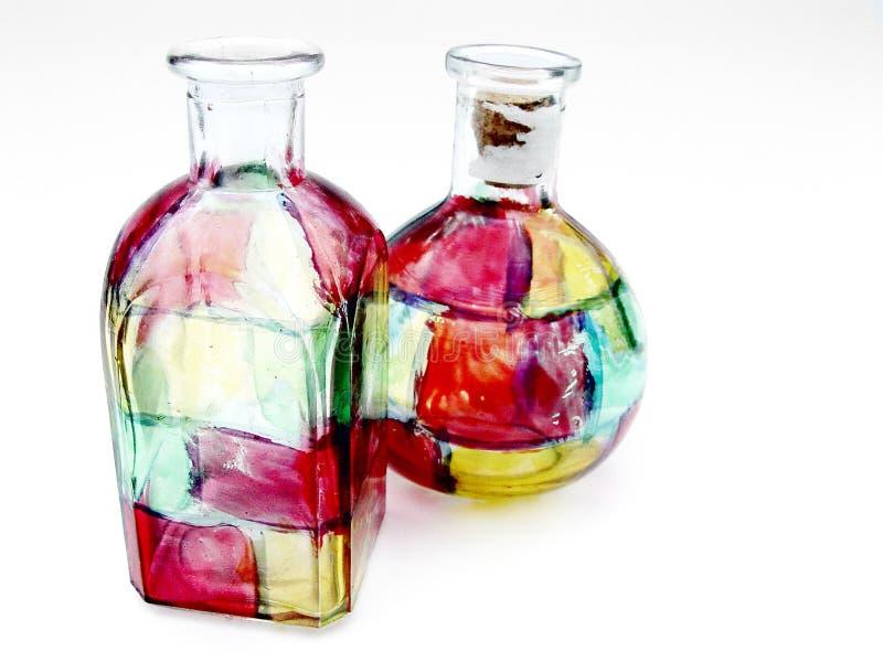 Botellas de cristal de la mancha de óxido imágenes de archivo libres de regalías