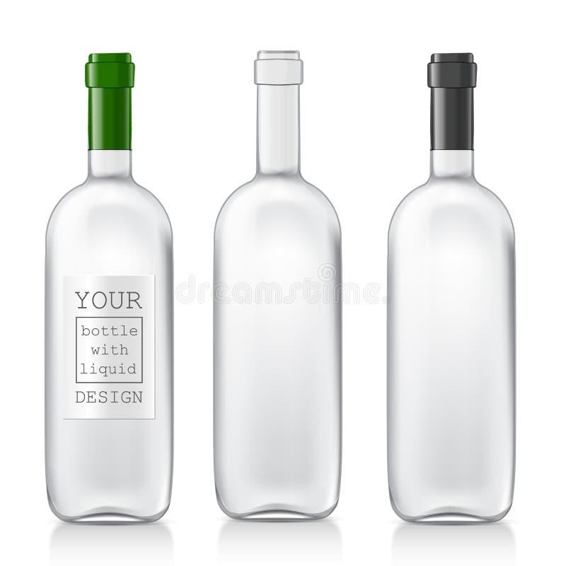 Botellas de cristal realistas determinadas libre illustration