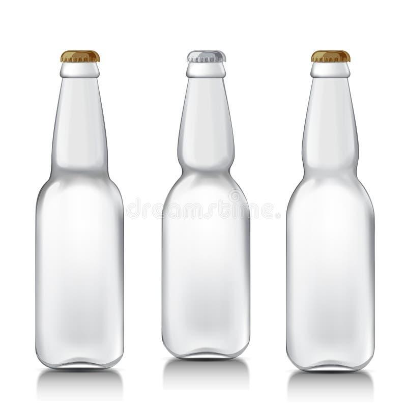Botellas de cristal realistas determinadas ilustración del vector
