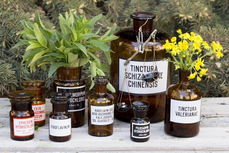 Botellas de la droga foto de archivo