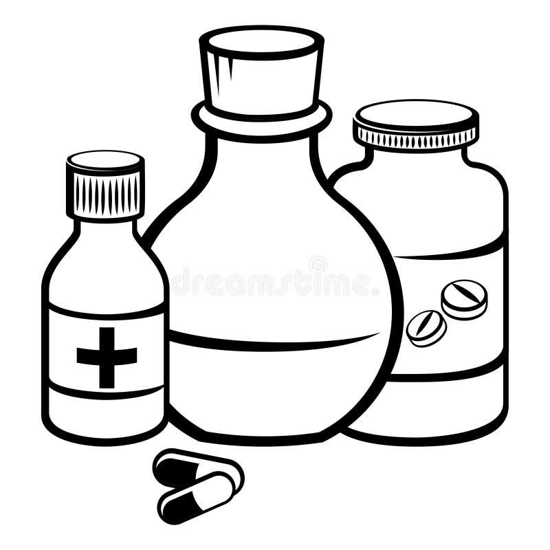 Botellas de la medicina stock de ilustración