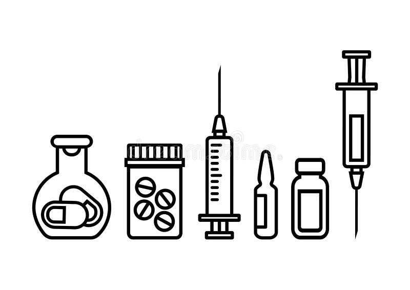 Botellas de la medicina con las píldoras, jeringuilla para la inyección con la vacuna, ampolla y frasco de medicina Ilustraci?n d stock de ilustración