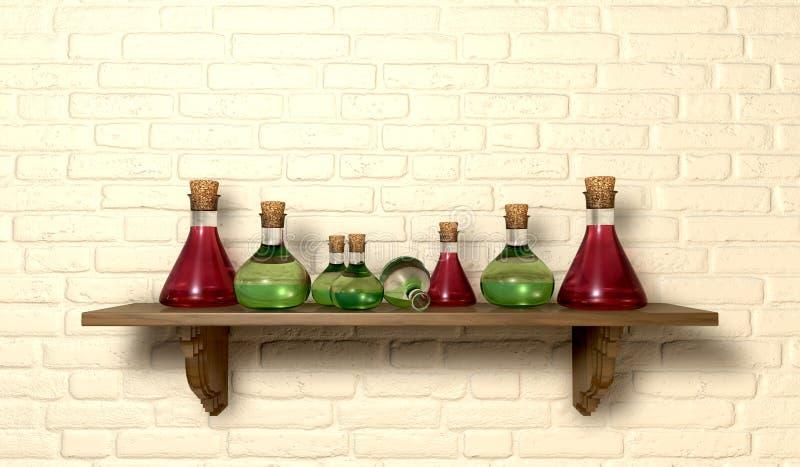 Botellas de la poción en un estante stock de ilustración