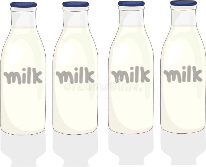 Botellas de leche stock de ilustración