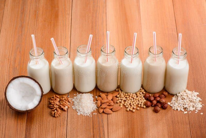 Botellas de leche sin lactosa fotografía de archivo