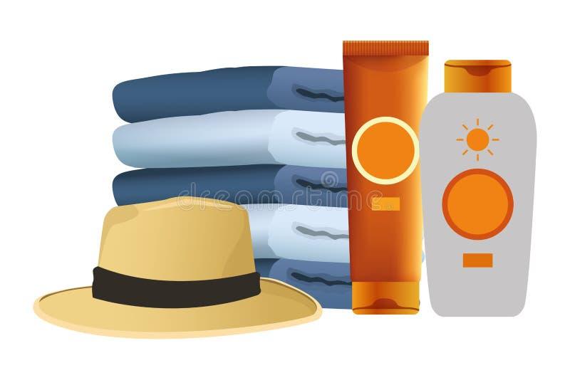 Botellas de los bronzers del sombrero y del sol del verano con las toallas ilustración del vector