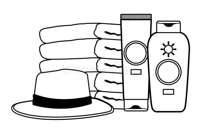 Botellas de los bronzers del sombrero y del sol del verano con las toallas en blanco y negro ilustración del vector