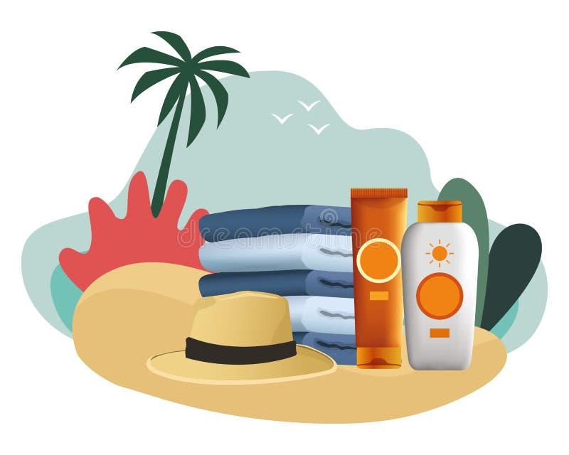 Botellas de los bronzers del sombrero y del sol del verano con las toallas stock de ilustración
