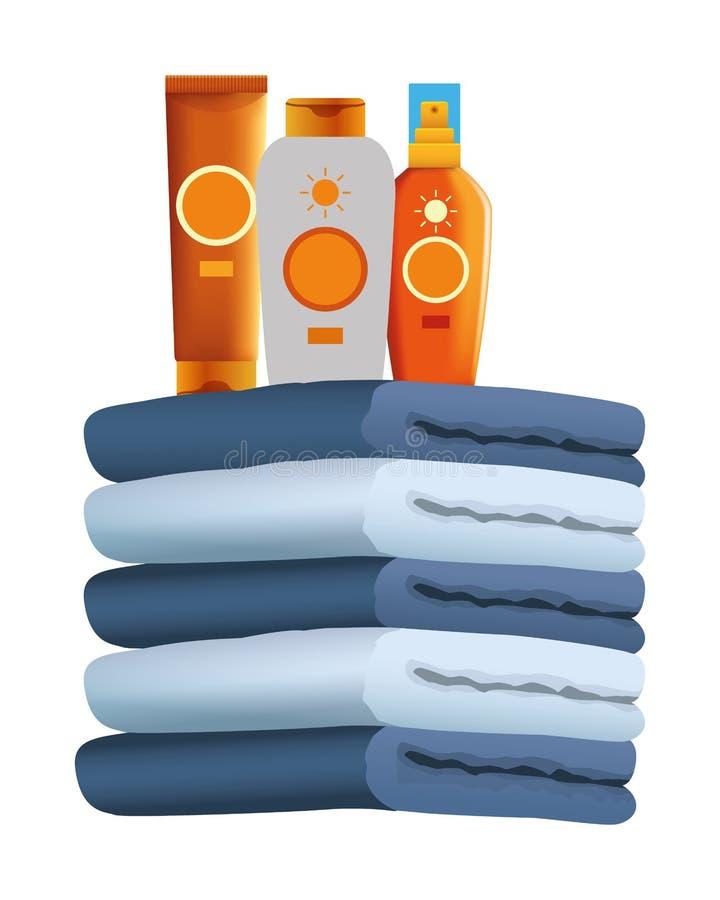 Botellas de los bronzers de Sun en las toallas llenadas para arriba stock de ilustración