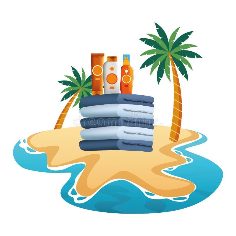 Botellas de los bronzers de Sun en las toallas llenadas para arriba ilustración del vector
