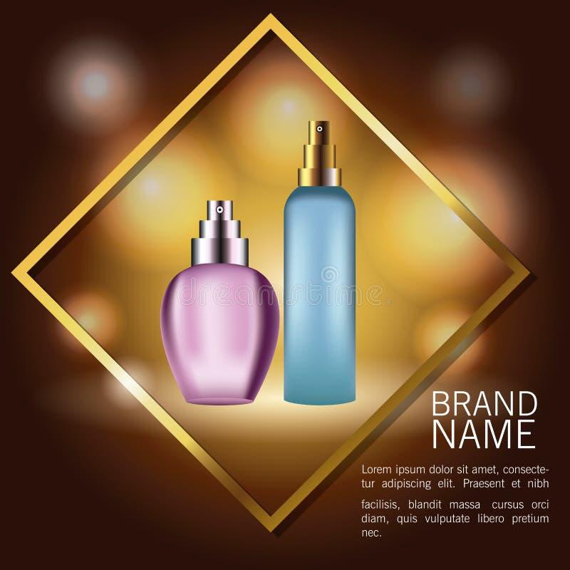 Botellas de los productos de las fragancias stock de ilustración